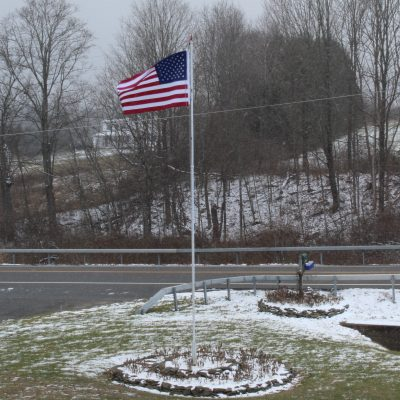 american flag winter